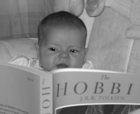 "Reading the ""Hobbit"" at six months."